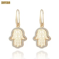 gold silver color fatima hamsa hand drop earrings for women crystal hand earrings fashion jewelry boucles doreilles femmes gift