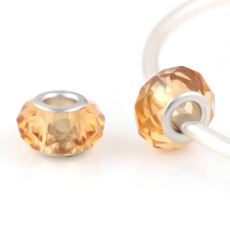 Lote de 10 Uds de cuentas angulares de cristal marrón redondas espaciadoras Chamilia, abalorios europeos de Murano checo aptos para pulseras Pandora