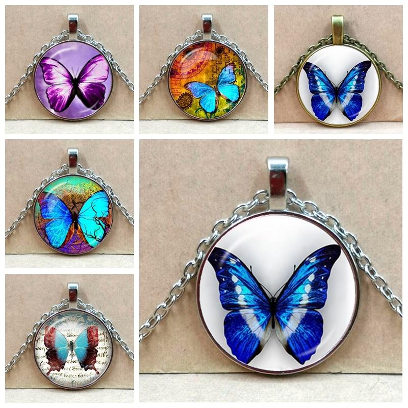 Nuevo hermoso collar de mariposa púrpura CUADRO DE ARTE cabujón de cristal cúpula Chapado en plata Collar para mujeres creativas