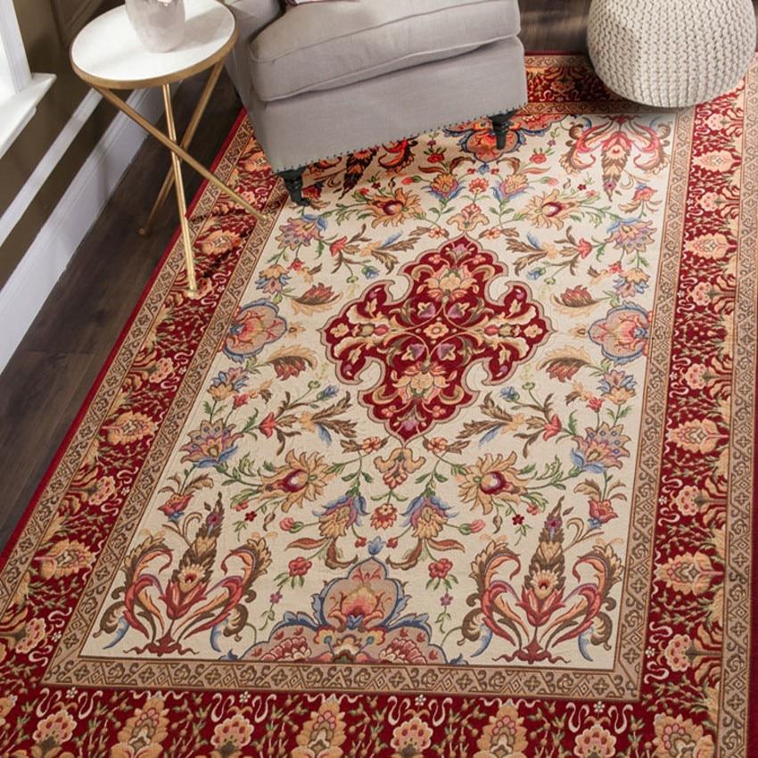 Alfombra clásica de estilo Retro, alfombra de sala de estar de gran tamaño, alfombra de mesa de centro, manta rectangular de tierra, alfombra decorativa persa para el hogar