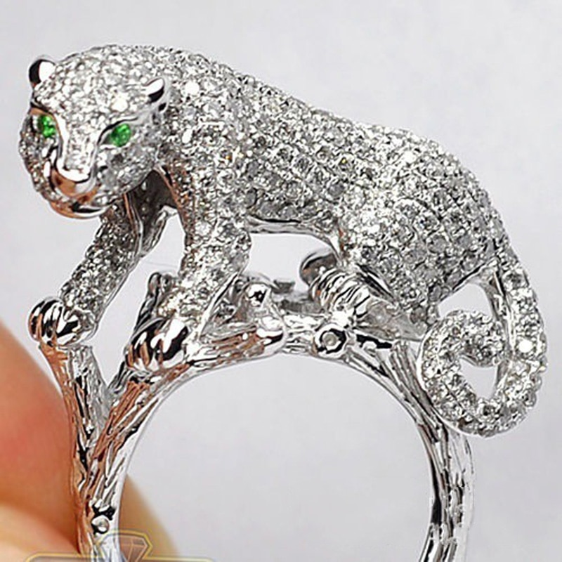 Anillo con diseño de leopardo de circonita cúbica completa de moda, anillos de animales de aleación de Zinc para mujer, accesorios de joyería de boda