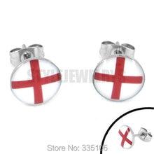 Gratis verzending! kleding Emaille engeland vlag oorbellen wk 2014 brazilië rvs sieraden motor earring studs SJE370085