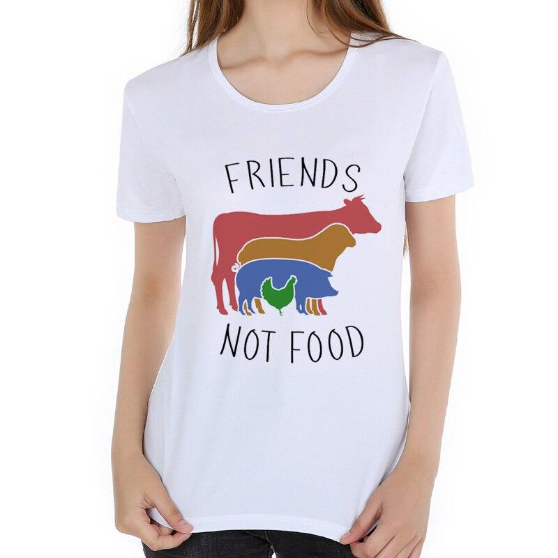 Friends not food letra vegan camisetas mujeres 2020 novedad de verano casual camiseta mujer suave cómoda transpirable camiseta L20-13