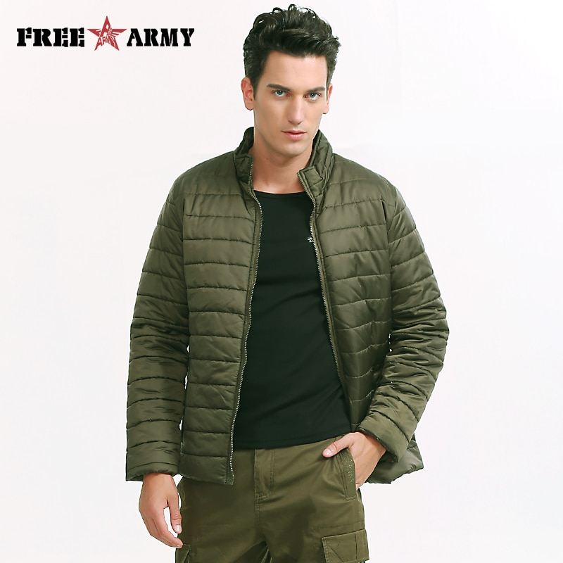 Brand Jacket Men Winter Light Weight Padded Coat Solid Green Mens Army Jackets and Coats 2016 Cotton Men's Parkas MS-6500A
