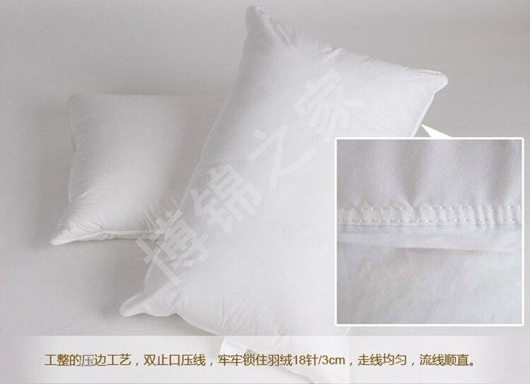 Almohada de viaje 12*30 pulgadas relleno blanco 14 oz relleno de potencia 800 cuin 90/10 ganso blanco abajo envío gratis suave