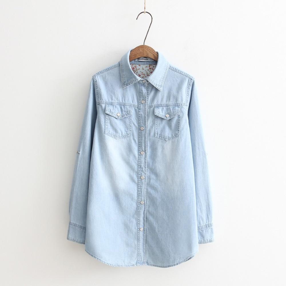 Осенняя Новинка, женские тонкие блузки с длинными рукавами, винтажные потертые джинсовые рубашки, повседневные синие джинсовые рубашки раз...