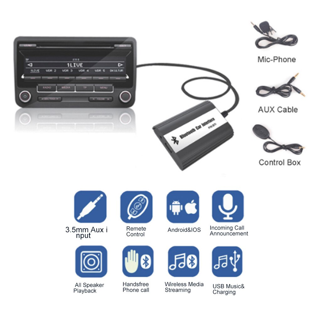 Al por mayor! Bluetooth A2DP Música Adaptador de MP3 Del Coche AUX USB de Carga Kit de Coche para Mazda 2 3 5 CX7 RX8 MPV Car Stereo Radio interfaz