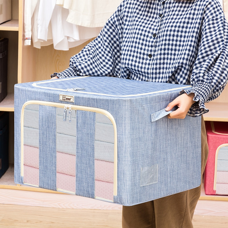 Modern Storage Box With Steel Frame Closet Organizer Waterproof Oxford Fabric Blanket Storage Bag 66L Organizer Bag Folding