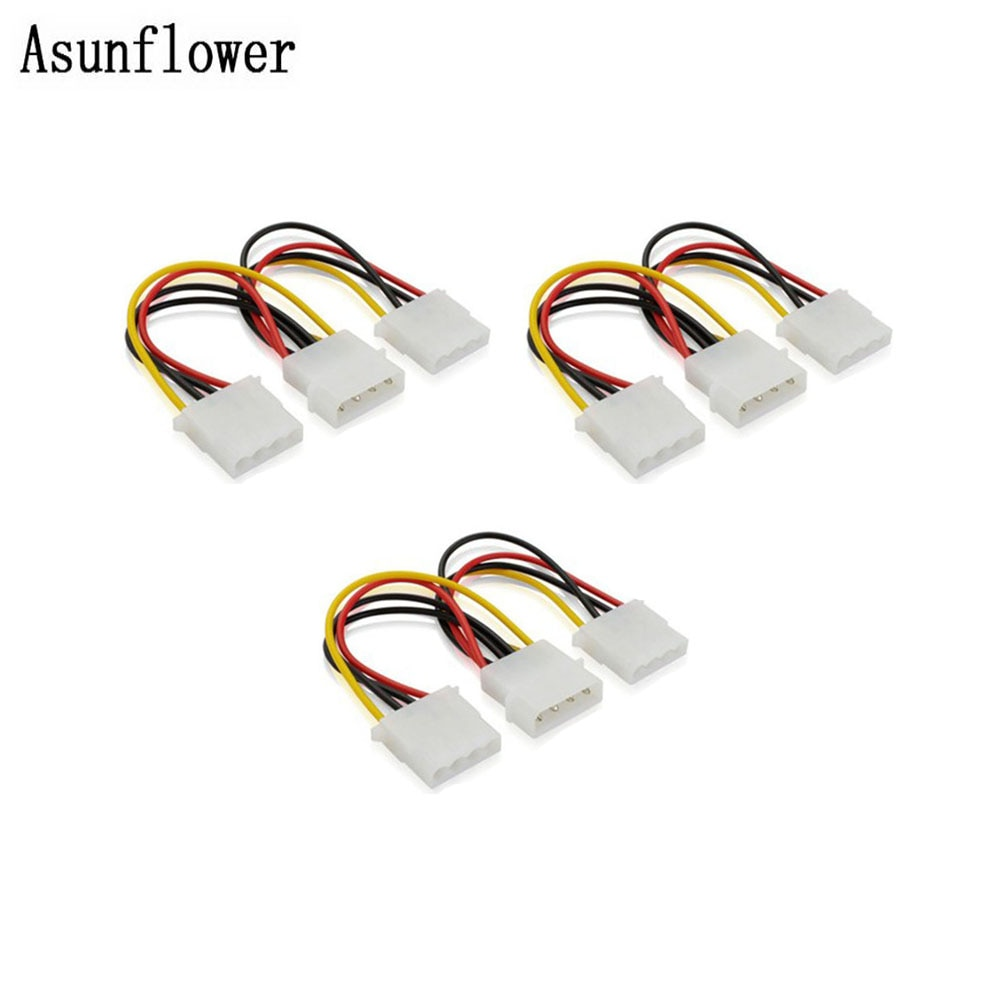 3 uds 4 Pin Molex macho a Dual IDE Molex 2 puertos hembra Y Splitter fuente de alimentación adaptador Cable de extensión para CD Driver disco duro