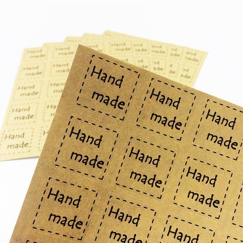 Lote de 240 unidades, pegatinas de sellado hechas a mano cuadradas multifuncionales para manualidades, etiquetas para paquetes de galletas