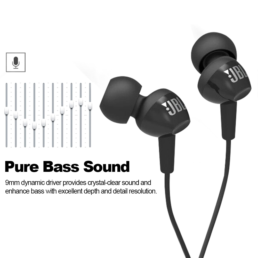 JBL C100Si Original 3.5mm Wired Stereo Earphones Deep Bass Music Sports Headset Running Earphone Hands-free Call with Microphone enlarge