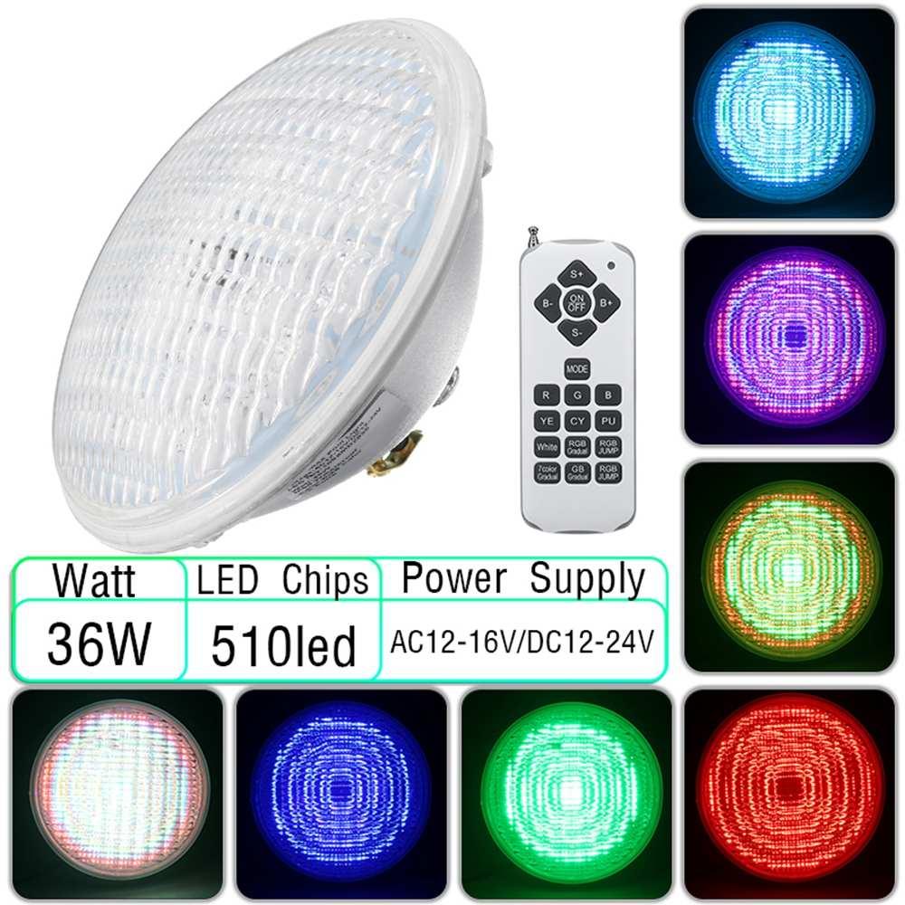 36W Par56 RGB LED Swimming Pool Light IP68 Remote Control Outdoor RGB UnderWater Light Pond Led Piscina Luz Spotlight