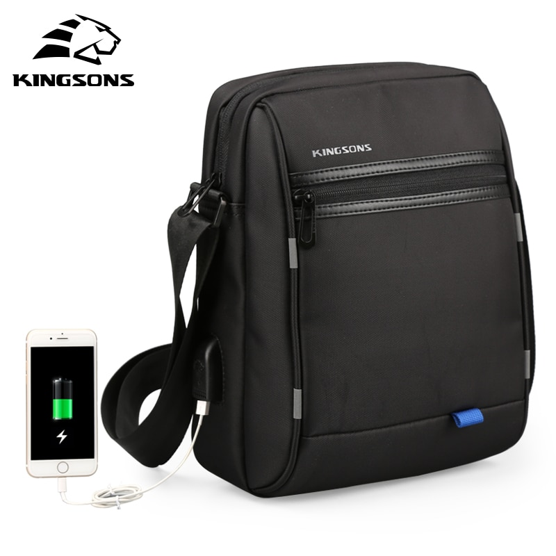 Kingsons חדש USB טעינת Tablet PC תיק עבור Pad Crossbody תיק גברים מחשב נייד כתף שליח תיק עמיד למים 10.1 אינץ