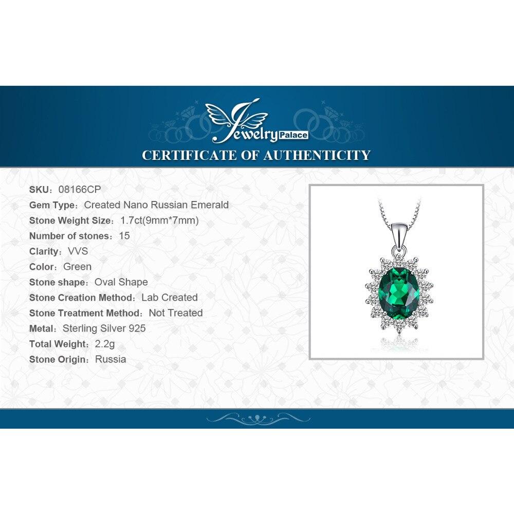 Купить с кэшбэком Jpalace Simulated Nano Emerald Pendant Necklace 925 Sterling Silver Gemstones Choker Statement Necklace Women No Chain