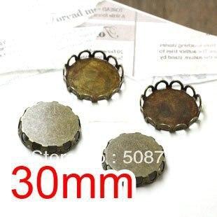 Tom Bronze Cabochon configurações quadro 30 mm, Configurações Cameo cab, Base de pingente