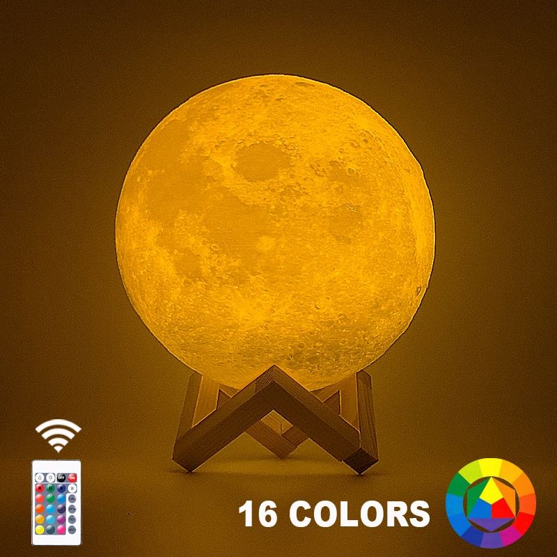 Dropship 3D Print Moon Lamp 20cm 18cm 15cm Colorful Change Touch USB Led Night Light Home Decor Crea