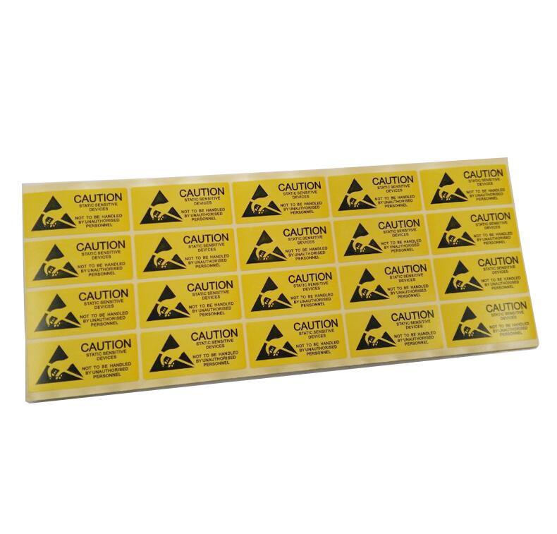 1000 sztuk/partia klej, antystatyczna uwaga naklejki Anti-static ostrzeżenie etykieta pieczęć znaku towarowego w odniesieniu do wrażliwych urządzeń elektronicznych etykieta do pakowania