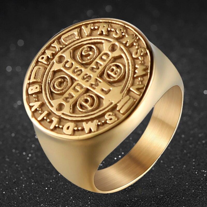 Acero inoxidable anillo de acero santo patrono católico San Benito de Nursia medalla de Santo Cruz anillos para hombres joyería religiosa NDSMD CSSML