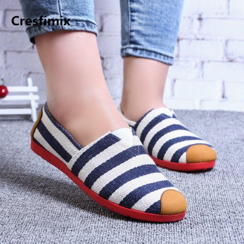 Zapatos de baile para mujer de Cresfimix, bonitos zapatos planos de rayas azules para mujer, cómodos zapatos sin cordones a440