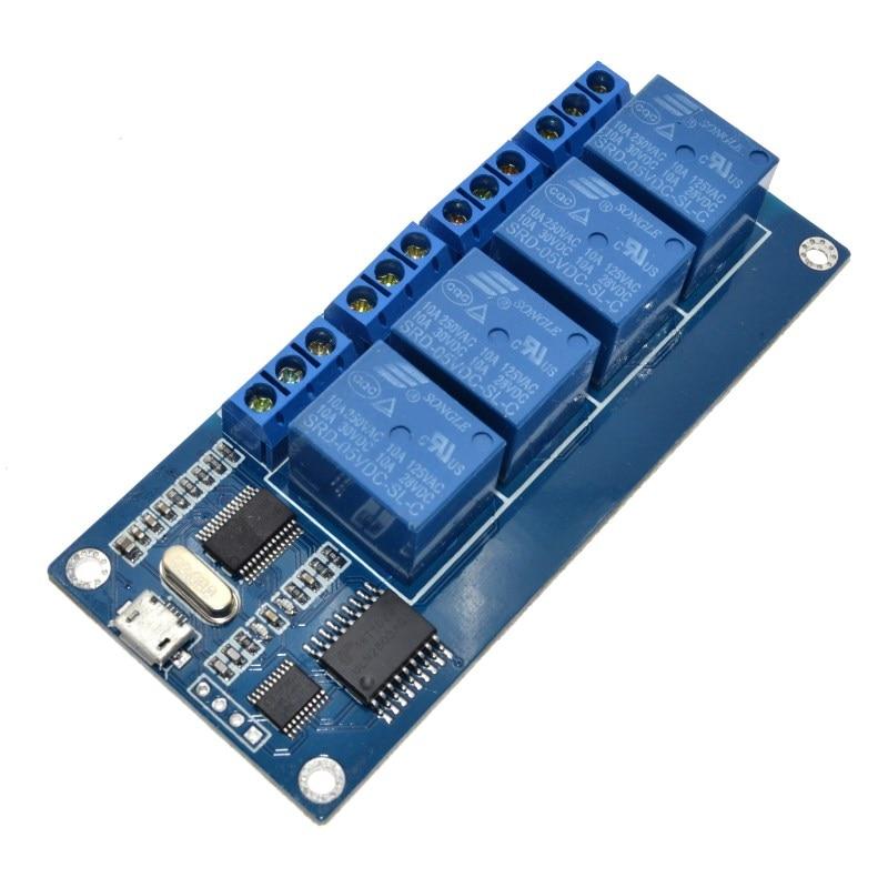Микро-usb релейный модуль контроллера 5 В dc 4-Канальный Релейный Модуль с индикатором 4-полосный выход usb интерфейс программного управления