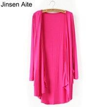 Jinsen aite 플러스 사이즈 5xl 봄/여름 모달 카디건 여성용 솔리드 대형 썬 스크린 롱 코트 아웃웨어 셔츠 js329