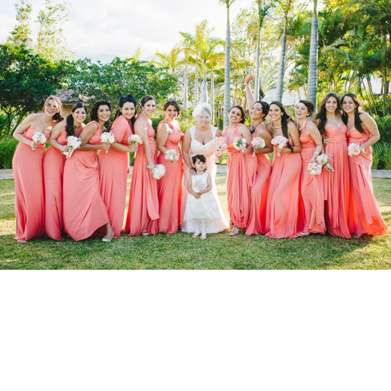 المرجان الوردي فستان وصيفة الشرف طويلة فستان إنفينيتي فستان متعدد الاتجاهات للتحويل ماكسي التفاف فستان مع نمط الحبيب