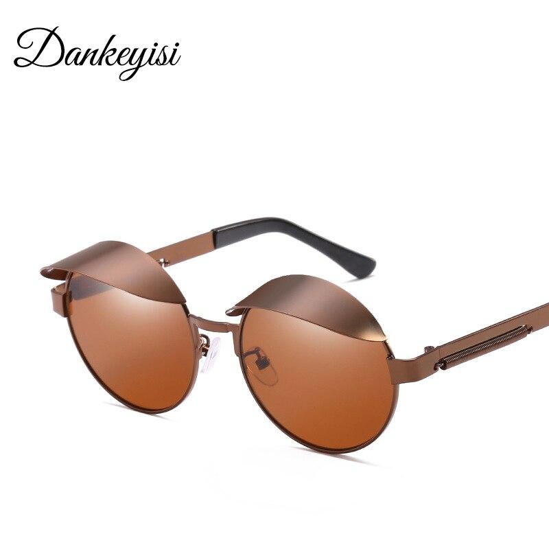 DANKEYISI Gothic Steampunk Sunglasses Men Women Metal Wrap Eyeglasses Round Shades Brand Designer Sun Glasses Mirror UV400