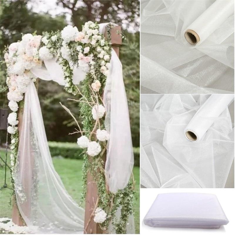 5/10m Tulle Wedding Organza Roll Sheer Crystal Organza Fabric for Wedding Decoration Mariage Yarn Birthday Event Party Supplies