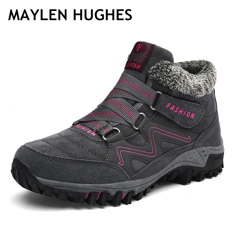 Women Men Hiking Shoes Winter Leather Fur Warm Ankle Snow Boots Outdoor Walking Shoes Mountain Sport Climbing Boot Big Size 46