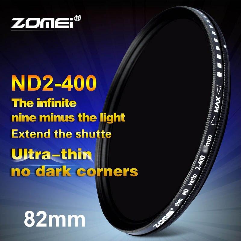 Zomei 82 مللي متر ترويسة متغير ND تصفية قابل للتعديل ND2 إلى ND400 ND2-400 الكثافة المحايدة لكانون نيكون هويا سوني كاميرا عدسة 82 مللي متر