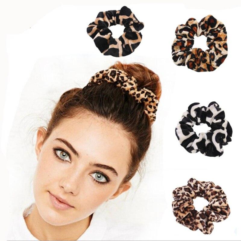 Suave Leopardo de terciopelo, accesorios para el cabello para mujer, lazo para el cabello de señora, rayas, coleta para mujer