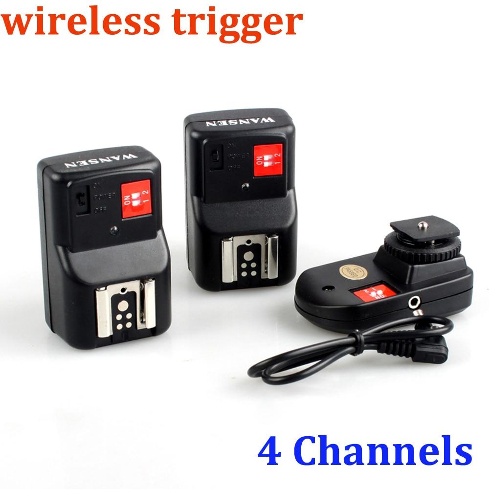 Universal 4 canais transmissor de rádio sem fio flash gatilho conjunto com 2 PT-04GY receptores câmera cabo sincronização para flash estúdio