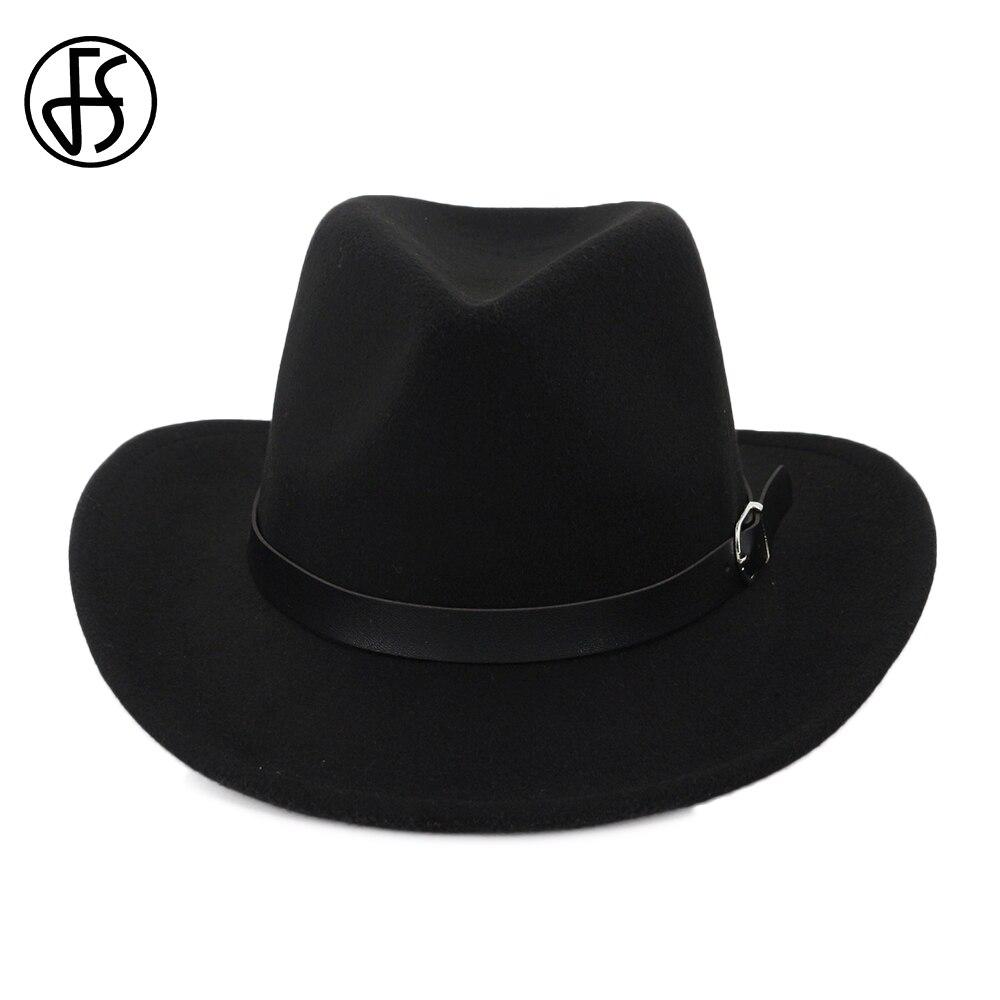 FS Fashion Wool Fedora Hats For Men Women Winter Trilby Felt Hat Vintage Curling Brim Cowboy Cap With Leather Belt Bonnet Homme