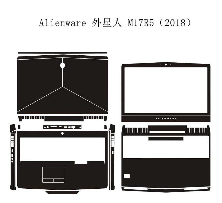 """Protector de la cubierta de la piel de la etiqueta engomada del cuero de la fibra de carbono del ordenador portátil KH para el nuevo Alienware 17 M17X R5 AW17R5 17,3 """"2018 lanzamiento"""
