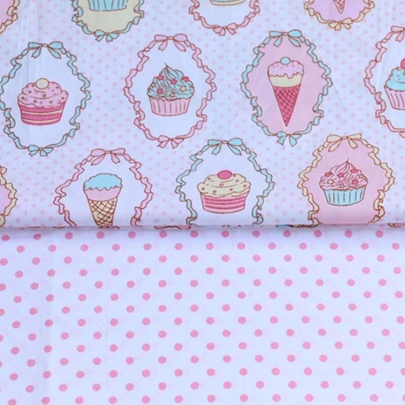 160 cm * 50 cm pano de algodão dos desenhos animados do queque com pontos cor de rosa roupas de tecido para DIY crianças berço cama almofadas handwork tela quilting