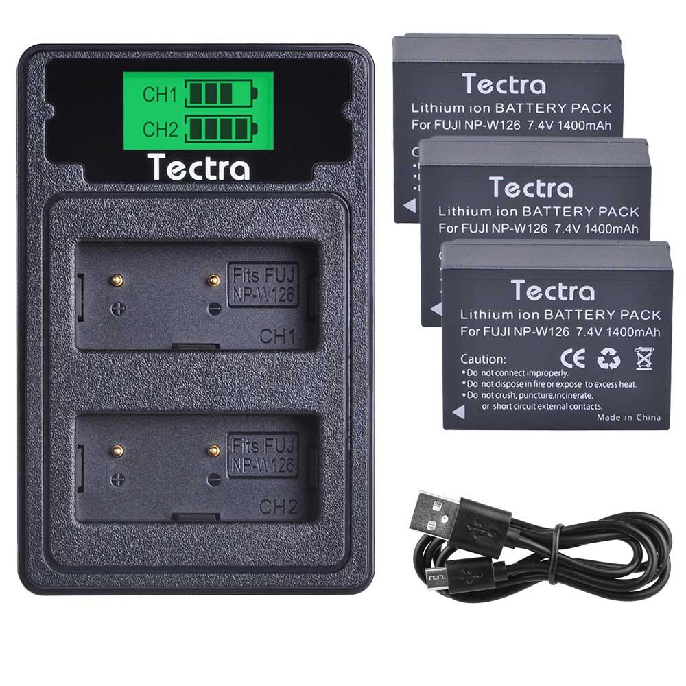 3 uds 1400mAh NP-W126 NPW126 batería + LCD tipo C cargador Dual para Fujifilm Fuji X-Pro1 XPro1 X-T1 XT1... HS30EXR HS33EXR X PRO1