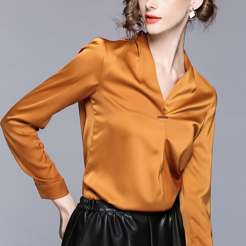 Primavera otoño moda mujer Oficina señoras naranja manga larga 4xl 3xl blusa camisa, Formal mujer V cuello elegante blusas
