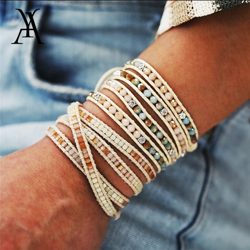 Женские плетеные браслеты с бусинами ручной работы в стиле бохо, винтажный многослойный браслет на руку, очаровательный браслет