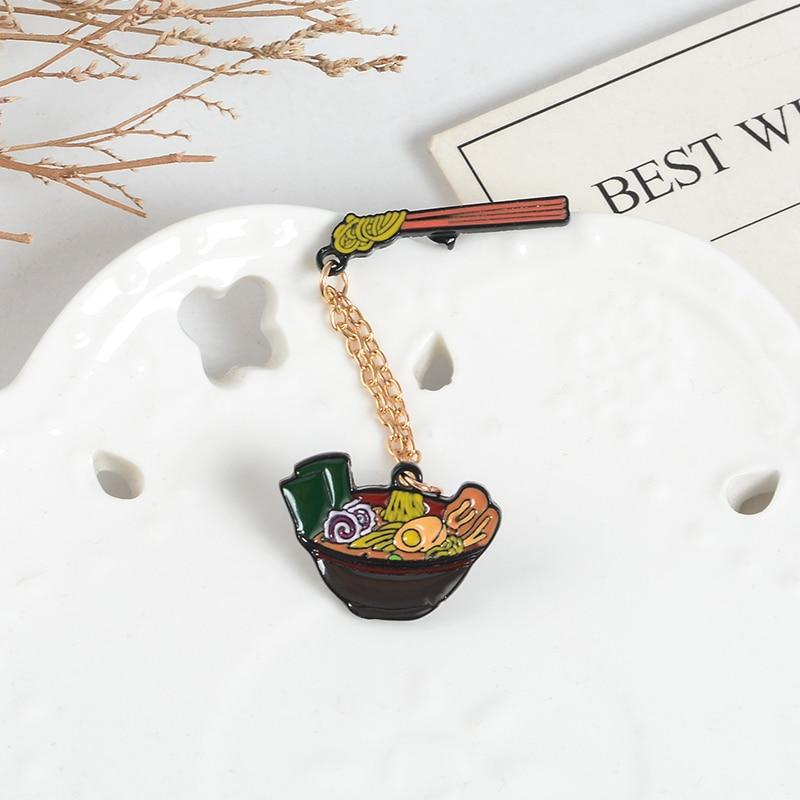 Delicioso ramen Japonês cadeia esmalte Emblemas Pin Pauzinhos de Carne e vegetais bacia Grande Broches Lapela jaquetas Jeans saco de Jóias