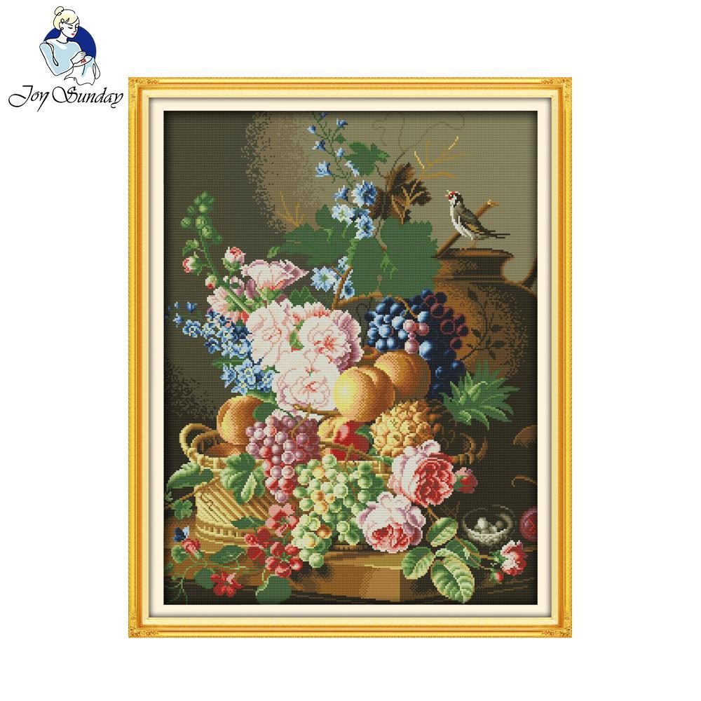 Juegos de costura para decoración del hogar con diseños de punto de cruz de florero hermoso estilo de la flor del Domingo de Joy