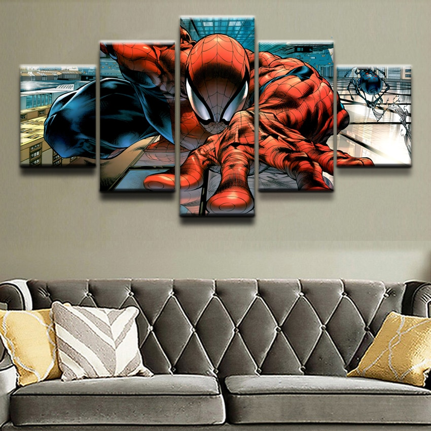 HD impresiones lienzo imágenes modulares Marco de arte de pared 5 piezas cómics hombre araña pinturas carteles hogar dormitorio decorativo