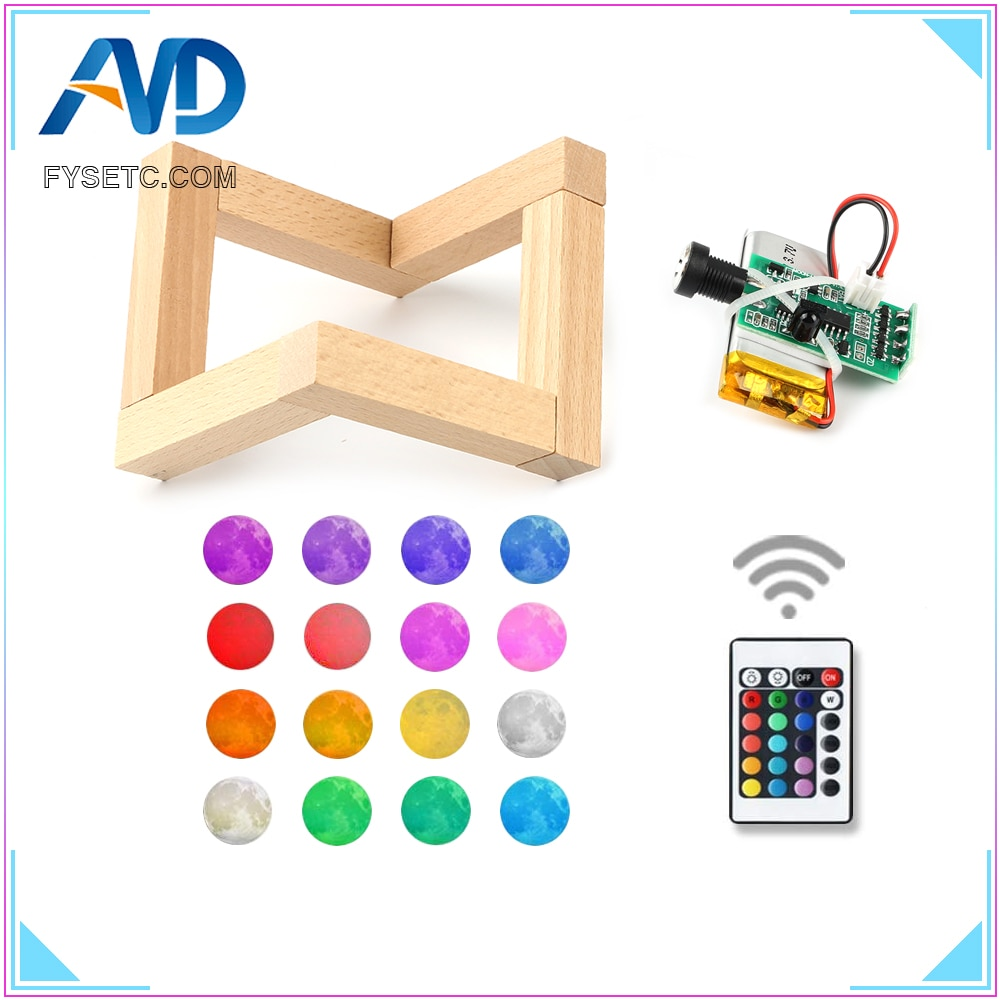 3D Printer Parts Moon Lamp Light Board 16 Colors Remote Control Night Light Circuit LED Light Source