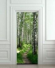 DIY 3D Adhesivo de pared Mural dormitorio decoración del hogar cartel madera árboles bosque abedul puerta envoltura pegatina extraíble para puerta decole 77*200cm