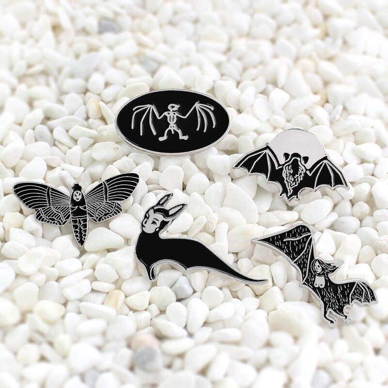 Preto morcego voador animal halloween esmalte agulha dark magic bat abelha estilo assustador distintivo adequado para festa travesti acessórios