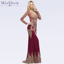 Gorgeous Dubai Prom Dresses Golden Applique Women Formal Dress Long Sleeve Mermaid prom Gowns Vestido Longo Evening Dresses 2019