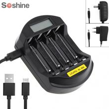 Soshine LCD affichage LifePO4 NI-MH 4 Slot chargeur de batterie Intelligent pour 14500 /14400 / AA / AAA batterie avec prise ue/US
