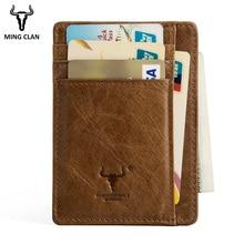 MingClan Genuine Leather Unisex Business Card Holder Wallet Bank Credit Card Case ID Holders Women Purse Card Holder Porte Carte