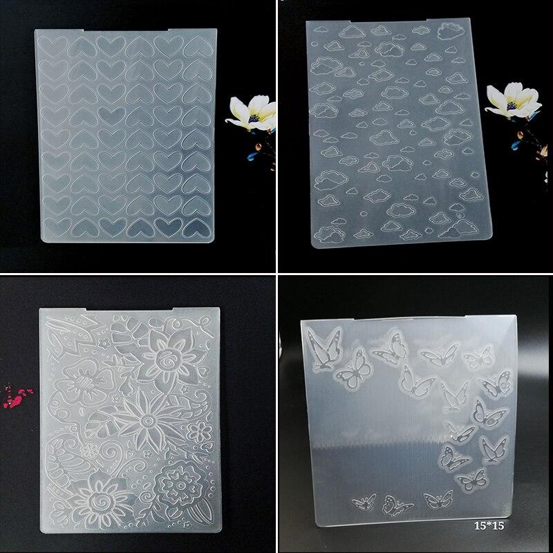 AZSG Heart-shape Cloud Butterfly Embossing Plastic Plates Design DIY Paper Cutting Dies Scrapbooking Folder