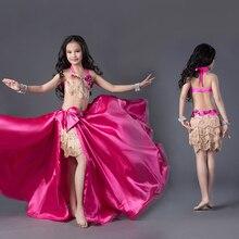 2018 nouvelle marque de haute qualité de luxe Bellydance Costumes enfant filles danse du ventre scène Performance haut soutien-gorge + jupe Costumes