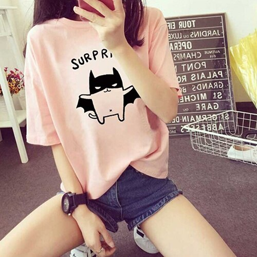 Sorpresa camiseta de verano corto camisetas con mangas harajuku, arte camiseta 90s...